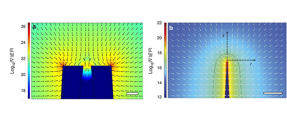 visualization of nanopipette tip and conductive flat electrode
