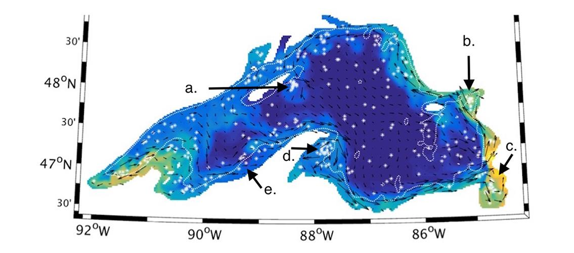 map of Lake Superior showing dispersal of tracers
