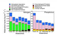 graphs showing nutrient inputs of nitrogen and phosphorus for various watersheds