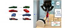 left: image of cars identified by AI; right: photo of robot peeling a strip of Velcro